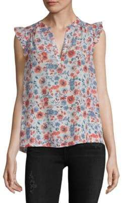 Joie Mirabelle Floral Silk Ruffle Blouse
