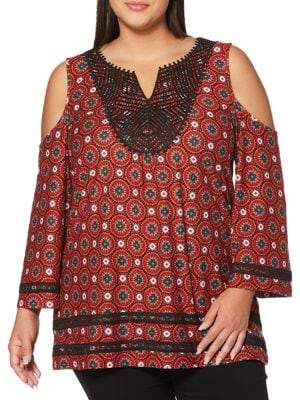 Rafaella Plus Printed Cold Shoulder Top