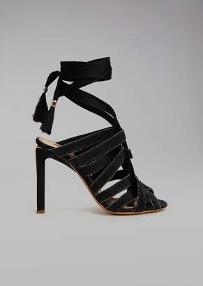 Giorgio Armani Sandals With Heel And Braided Laces