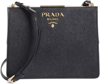 120d88d74913 Prada Small Frame Saffiano & City Calfskin Leather Shoulder Bag