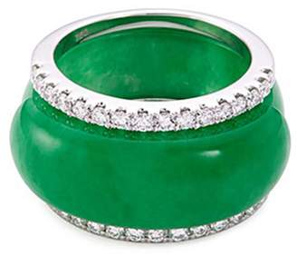LC Collection Jade Diamond jade 18k white gold ring