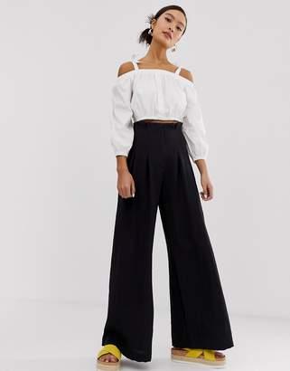 Monki pleated wide leg pants in black