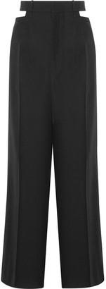 Haider Ackermann - Berkeley Cutout Wool-piqué Wide-leg Pants - Black $1,115 thestylecure.com