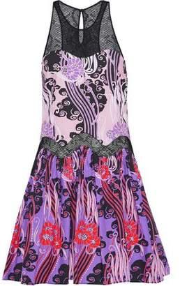 Roberto Cavalli Lace-Paneled Printed Cotton-Poplin Mini Dress