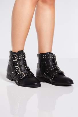 e59b8ab28da05 Quiz Black Studded Strap Ankle Boots