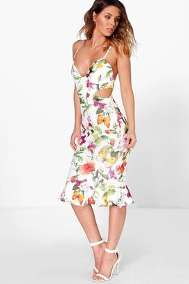 boohoo Dorris Floral Cut Out Side Peplum Hem Midi Dress $37 thestylecure.com
