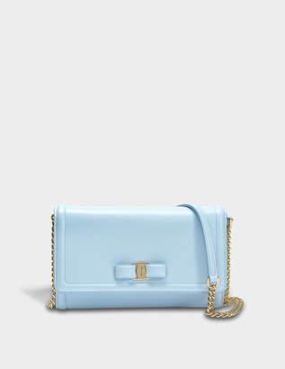 Salvatore Ferragamo Ginny Mini Bag in Light Blue Score Leather