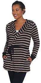 Anybody AnyBody Loungewear Brushed Hacci StripedHooded Cardigan