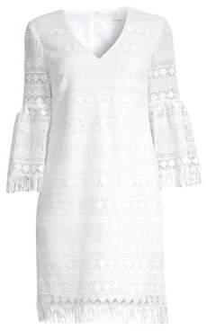 Trina Turk Keys Lace Bell Sleeve Sheath Dress