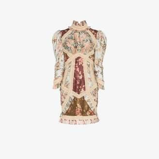 Zimmermann Embellished Floral Print Silk Mini Dress