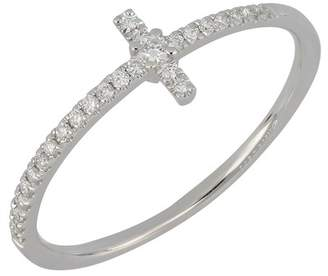 Bony Levy 18K White Gold Pave Diamond Cross Stacking Ring - 0.13 ctw