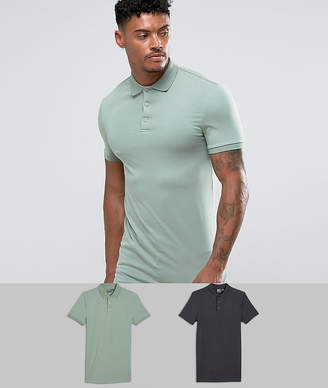Asos Extreme Muscle Longline Polo 2 Pack SAVE
