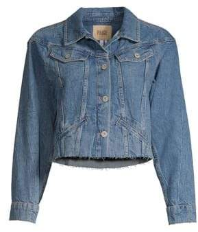 Paige Torri Cropped Frayed Denim Jacket