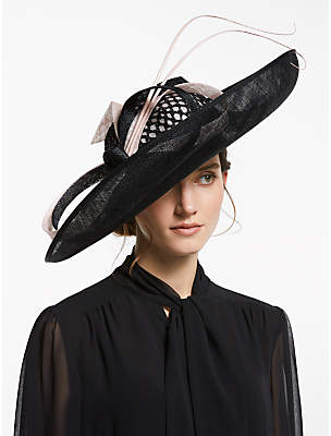 432a135e John Lewis & Partners Christina Large Side Upturn Bow Detail Occasion Hat,  Black/Blush
