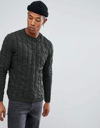Asos Quilted Jumper In Khaki