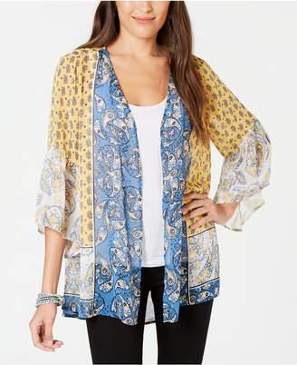 Style&Co. Style & Co Printed Open-Front Kimono