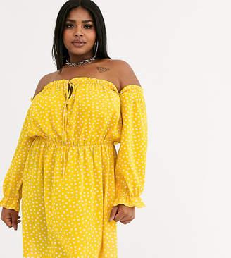 Bardot Koco & K Plus gathered off shoulder mini dress in yellow geo print