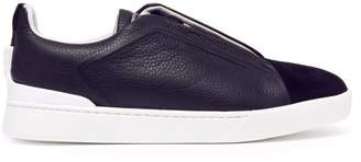 Ermenegildo Zegna Leather Low Top Trainers - Mens - Blue