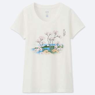 Uniqlo Women's Hokusai Blue Short-sleeve Graphic T-Shirt
