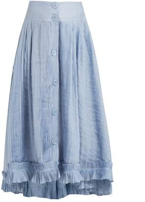 Thierry Colson Romane pleated cotton and silk-blend voile skirt