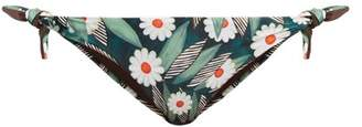 Mara Hoffman Daisy Print Tie Side Bikini Briefs - Womens - Green Multi