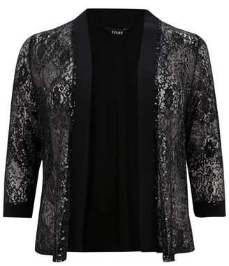Evans Black Lace Sequin Soft Kimono