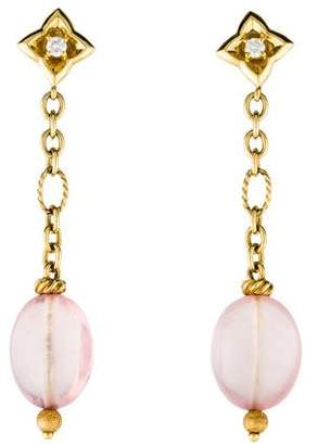 David Yurman 18K Rose Quartz & Diamond Quatrefoil Drop Earrings