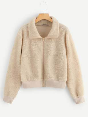 Shein Zip Front Teddy Jacket