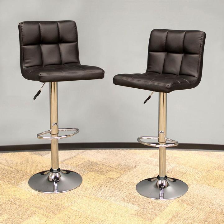 AmeriHome Modern Style Adjustable Height Black Swivel Cushioned Bar Stool (Set of 2)