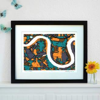 Firewater Gallery East London Map Art Print