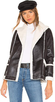 Chaser Faux Fur Lined Suede Open Front Long Jacket
