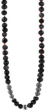 Tateossian Formentera Sterling Silver& Black Agate Beaded Necklace