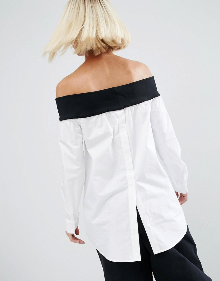 ASOS White ASOS WHITE Off The Shoulder Top With Contrast Rib And Button Down Back