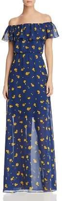 Betsey Johnson Marigold Buds Off-the-Shoulder Maxi Dress