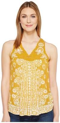 Lucky Brand Floral Lace Yoke Tank Top Women's Sleeveless