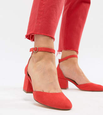 London Rebel Wide Fit Mid Block Heels