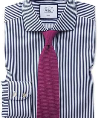 Charles Tyrwhitt Extra slim fit non-iron cutaway collar navy twill stripe shirt