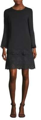 Kobi Halperin Lace-Trimmed Bell-Sleeve Shift Dress