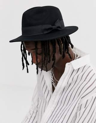 Asos Design DESIGN fedora hat in black felt