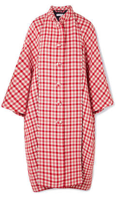 Balenciaga Cristóbal Oversized Gingham Wool-blend Coat - Red