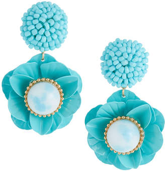 Lydell NYC Floral Drop Earrings, Teal