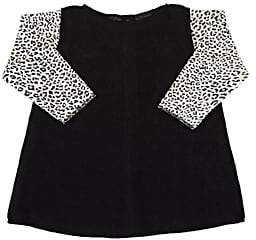 Amelia INFANTS' LEOPARD-PRINT-SLEEVES BRUSHED COTTON-BLEND DRESS-BLACK SIZE 6/9