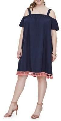 Junarose Plus 318 Olazi Cold-Shoulder Above Knee Cotton Dress