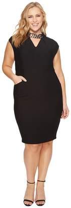 Sangria Plus Size Embellished Neck Sheath Dress Women's Dress