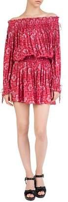 The Kooples Summer Blossom Shirred Off-the-Shoulder Floral Mini Dress