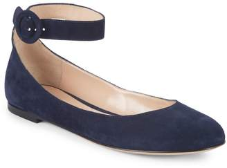 Gianvito Rossi Suede Ankle Strap Ballet Flats