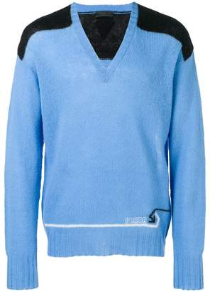 Prada knit panelled V-neck sweater