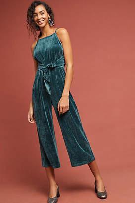Greylin Evelyn Velvet Tie-Front Jumpsuit