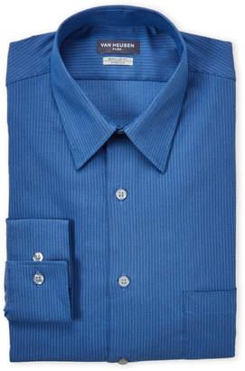 Van Heusen Dark Navy Herringbone Stretch Regular Fit Dress Shirt
