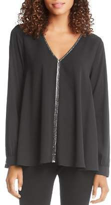 Karen Kane V-Neck Beaded-Trim Top